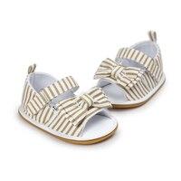 Новый дизайн, летние сандалии в клеточку или полоску с бантом-бабочкой на липучке на плоской подошве для маленьких девочек (0-18 лет)