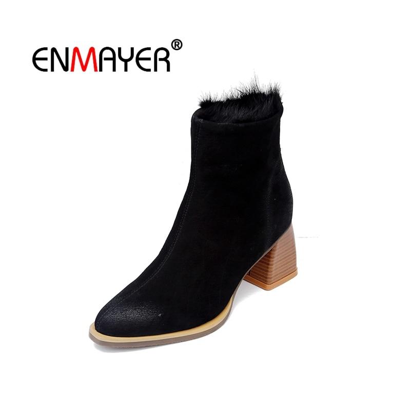 Enmayer/женские ботильоны из натуральной кожи, эластичные ботильоны, женская обувь с острым носком, женская обувь на толстом среднем каблуке, и