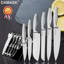 Damask Knife Stand Holder With 3Cr13Mov Stainless Steel Knives Set Chef Kitchen Multi-functional Cooking Tools