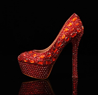 ФОТО Crystal  high-heeled  bridal shoes wedding shoes rhinestone red wedding shoes transparent formal dress shoes party