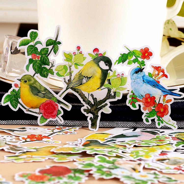 20pcs Flower And Bird Collection Retro Flowers Spring Scenery Decoration Stationery Sticker Diy Ablum Diary Scrapbooking