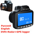 "Russian 3 in 1 Car DVR radar Detector 3"" LCD 140 degree lens dvr camera GPS logger car radar tachograph Traffic warning"