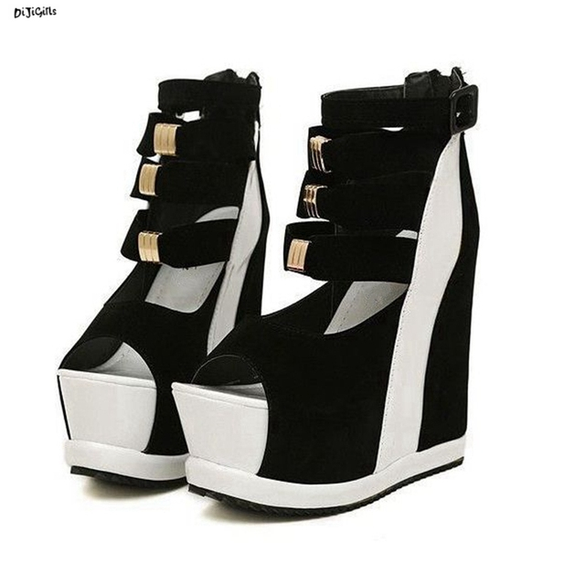 c19b8fb9468 Women Platform Wedges Sandals Sexy High Heels Open Toe Summer Party Shoes  Plus Size Multi Color