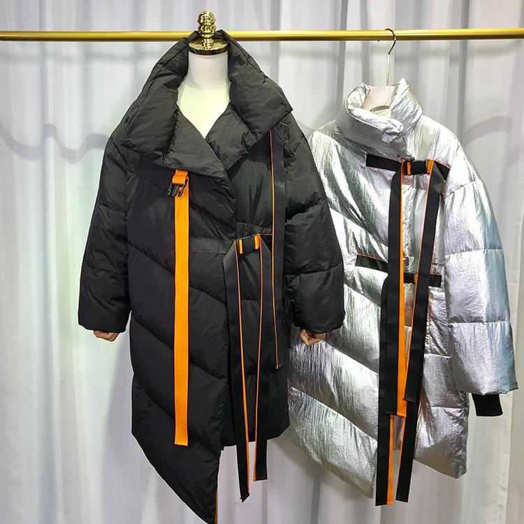 Long Le Col Roulé Canard Manteau Bas Noir Femme Blanc Épaisse Argent Veste Vers Parkas Vêtements Hiver 2018 Chauds Femelle xF7qII