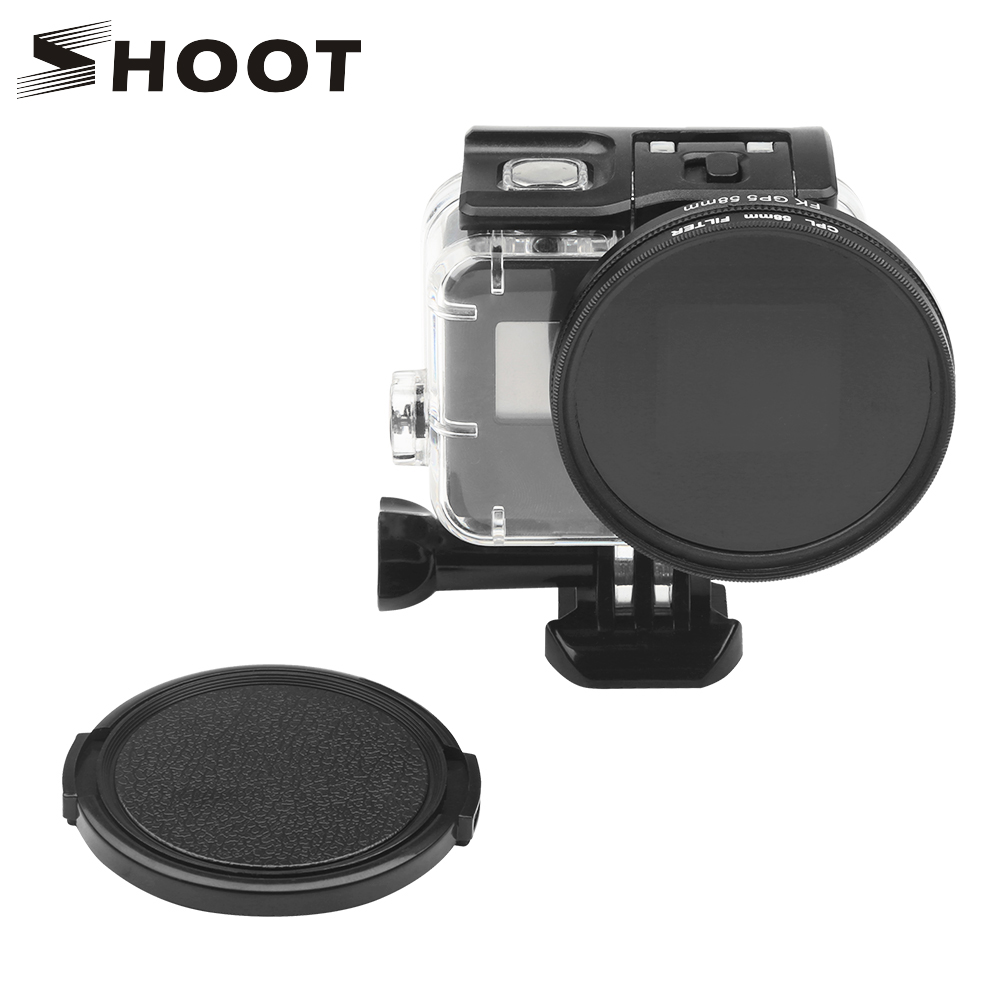 SHOOT 58mm CPL Filter for GoPro Hero 7 6 5 Black Waterproof Case with Lens Cover and Adapter Accessory for Go Pro Action Camera image