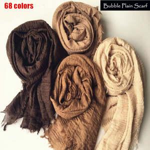 Scarf Shawls-Bandana Foulard Pashmina Women Wraps Hijab Bubble Plain Muslim Fashion Maxi
