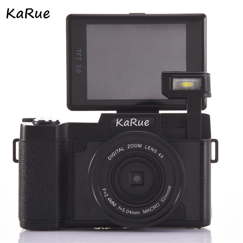 KaR CDR2 24MP Digital Camera Full HD 1080P 3.0LCD Rotatable Anti-shake 4X Video DV Recorder Cam w/Wide-angle Lens 3 0 lcd screen 1920 1080p full hd video digital camera 7 5mm portable outdoor indoor face capture dv camcorders anti shake