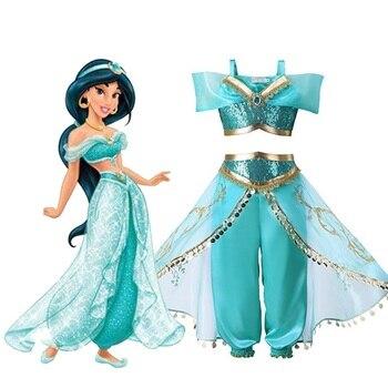 Gadis Lampu Aladdin Melati Putri Kostum Cosplay untuk Anak Halloween Pesta Tari Perut Gaun India Putri Kostum