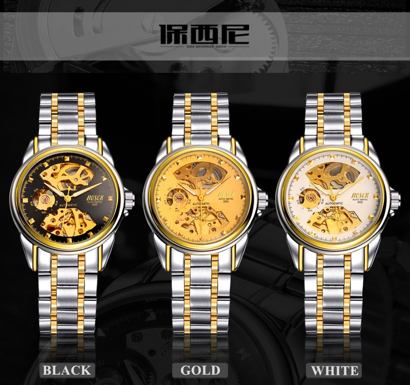 HTB1fuUWbgaH3KVjSZFjq6AFWpXad Men's Watches Automatic Mechanical Gold Watch Male Skeleton Dial Waterproof Stainless Steel Band Bosck Sports Watches Self Wind