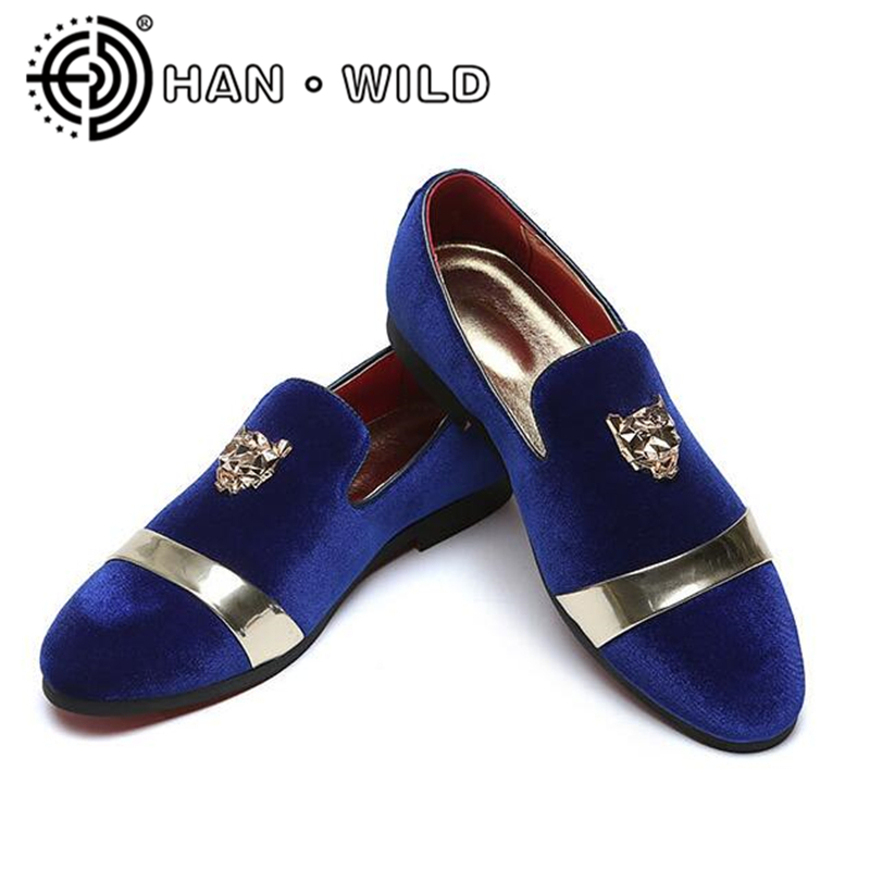New Fashion Men Shoes Party Wedding Shoes Handmade Loafers Men Velvet Shoes with Tiger Gold Buckle Men Dress Shoe Men's Flats