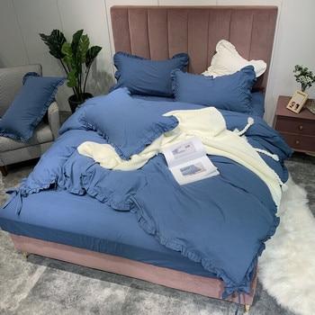 Pure Cotton 4pcs Bed Set Duvet Cover Bed Set Bed Sheet Pillowcases Solid Royal Blue Ginger Bean Paste Pink Grey Khaki White