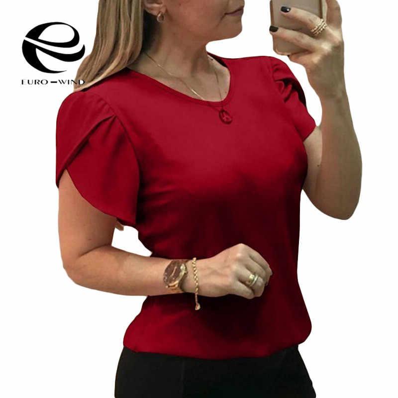 בתוספת גודל 5XL נשים צמרות חולצה 2019 קיץ העליון קצר שרוול O-צוואר מוצק חולצות נשי אלגנטי Loose חולצות Blusa vestidos
