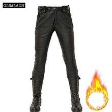 Fashion Punk Sheepskin Genuine Leather Pants Men Winter Fleece Lining Real Leather Trousers Man Streetwear Masculina Pantalon