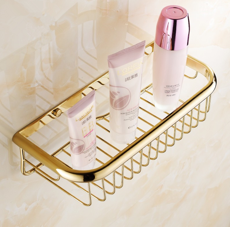 Fashion Gold Finish Bathroom Accessories Shower shampoo&Cosmetics Shelf Basket Holder/Brass Material Wrought Iron Wall Shelves brand new iron wall basket shelf for bathroom