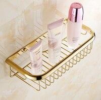 Fashion Gold Finish Bathroom Accessories Shower Shampoo Cosmetics Shelf Basket Holder Brass Material Wrought Iron Wall