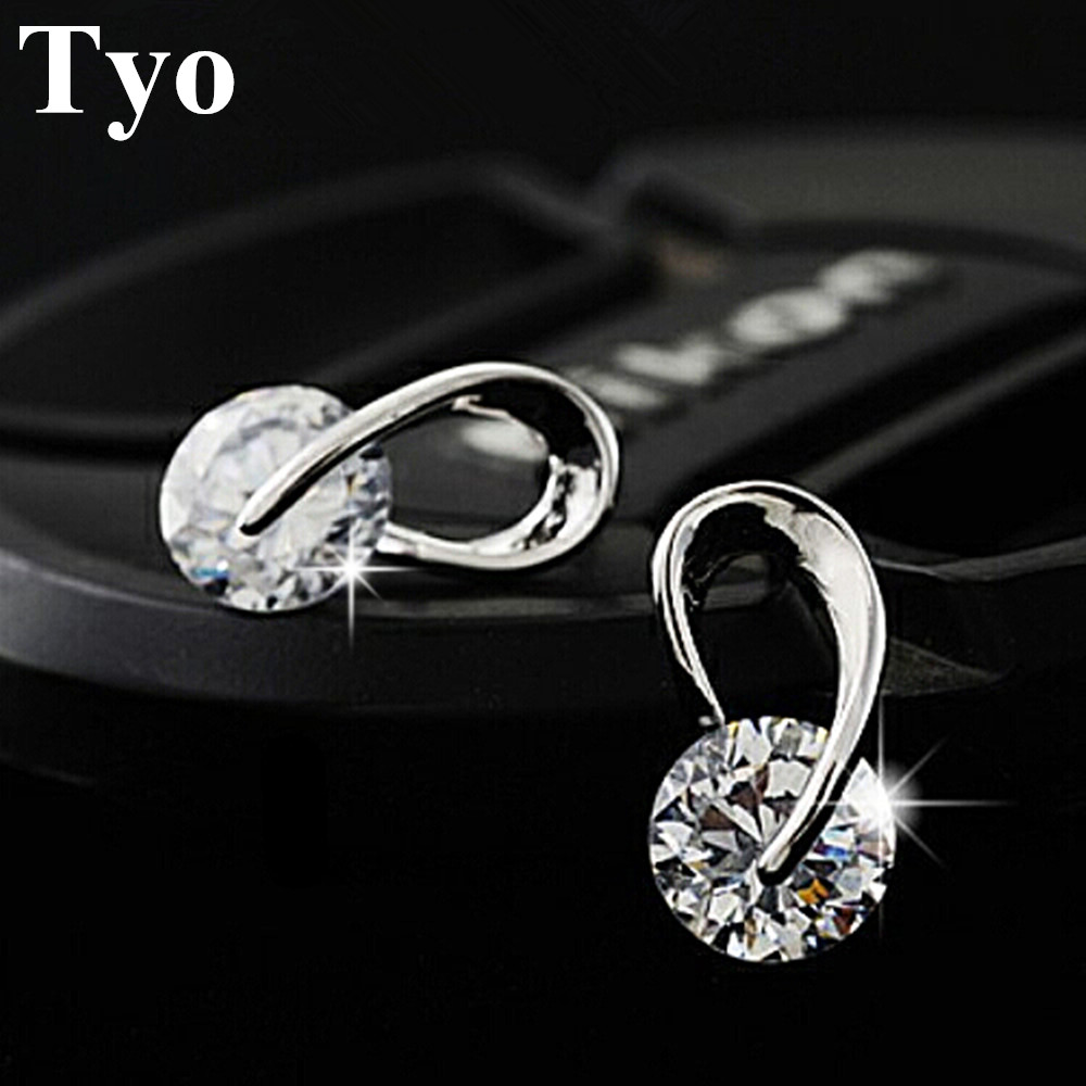 TYO Official Store Austria Crystal Wedding pendientes mujer Silver Color Zircon Crystal Stud Earrings Fashion Jewelry for Women brincos