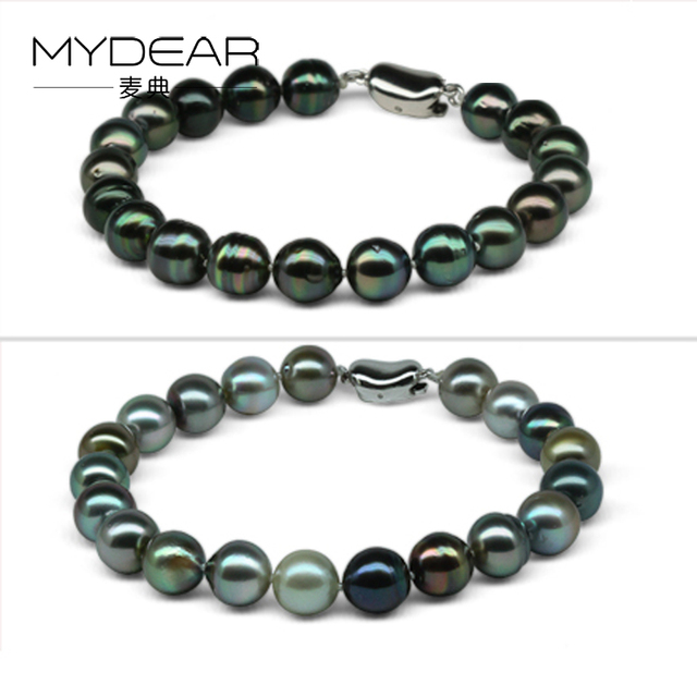 MYDEAR Genuine Pearl Jewelry Classic Real Pearl Bracelets For Women Natural 8-9mm Shiny Tahitian Pearl Strands,Vintage Jewelry