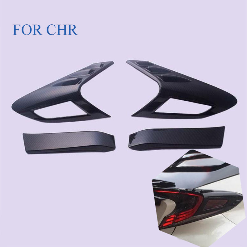 CarStyling FIT For C HR CHR 2016 2017 2018 ABS CARBON FIBRE Rear Light Tail Lamp Cover Trim Reflector Garnish Shade Frame