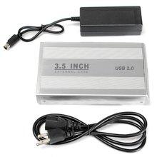 3.5 HDD Hard Drive External Enclosure USB 2.0 SATA Disk Box Aluminium HDD Caddy HDD Hard Disk Drive