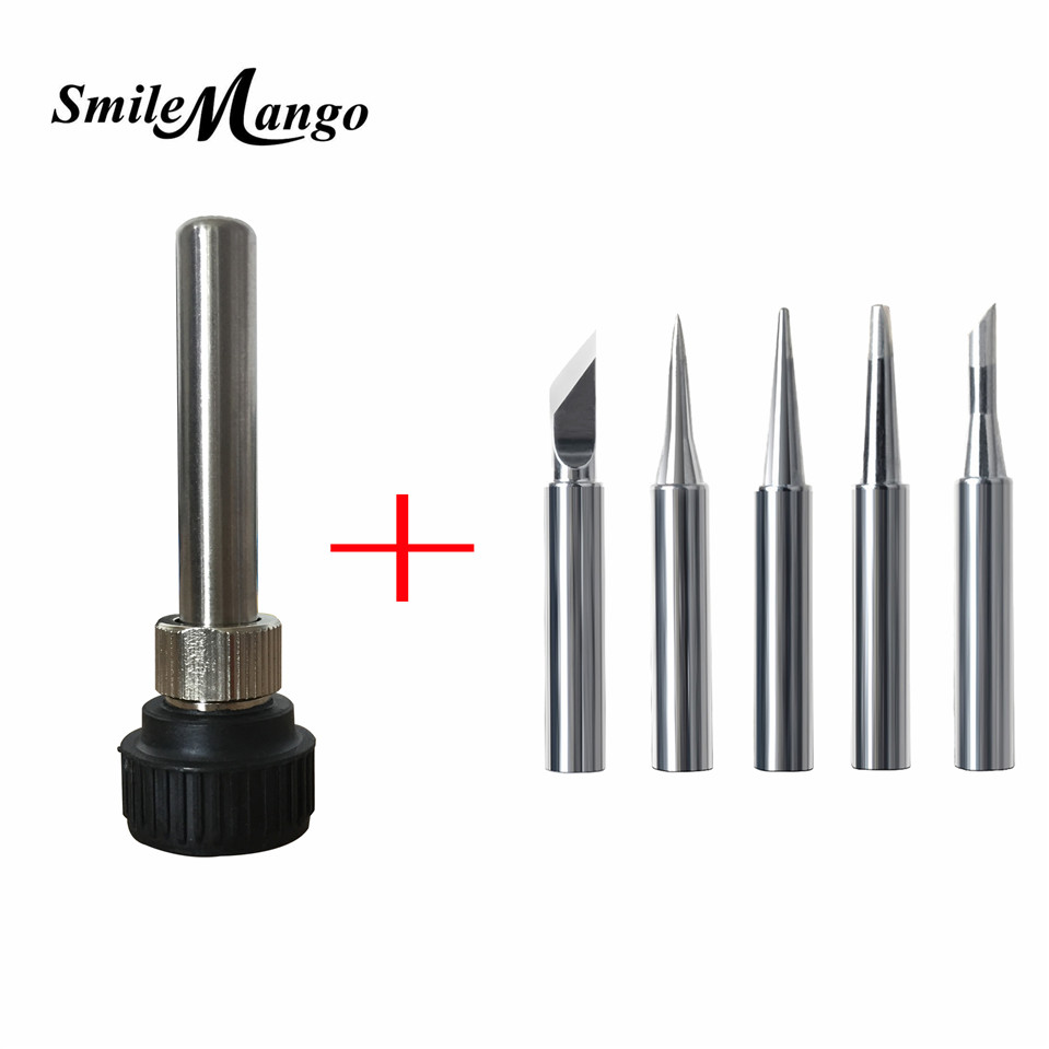 Soldering Station Iron Handle Adapter For ESD 852D 936 937D 898D 907 HAKKO Iron Tip Cannula Casing+5 X Solder Iron Tips