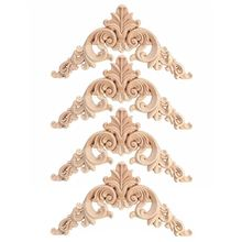 HOT SALE 4pcs Rubber Modern Wood Oak Carved Corner Onlay Applique Furniture Home Door Decor DIY