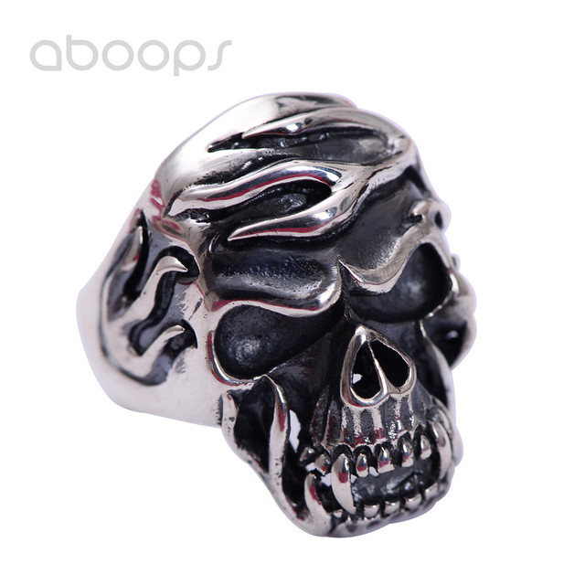 Black Gothic 925 Sterling Silver Skull Head Ring Jewelry for Men Size 8.5 9 10 11 Free Shipping