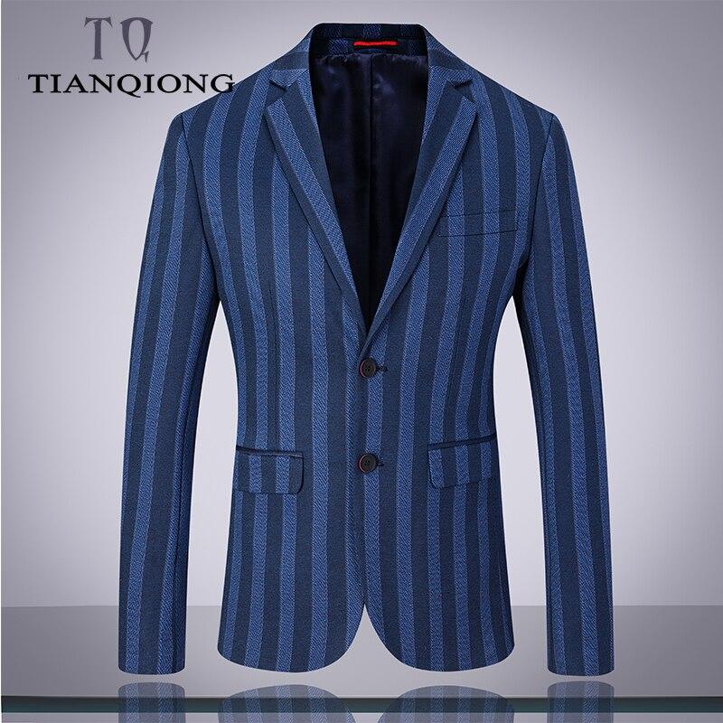 Hommes costumes 2019 marque vêtements rayure hommes costume formel bleu Normcore hommes costumes mariage marié Blazer avec pantalon hommes 3 pièces costume-in Costumes from Vêtements homme    3