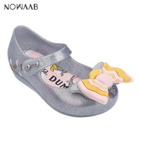 Mini Melissa Ultragirl + Dumbo 2019 New Girl Sandals Brazil Jelly Sandals Melissa Children Sandals Beach Shoes Non slip Toddler