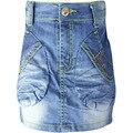 Girls Wrap Blue Denim Skirt 3-7Y Rhinestone Crystal button skin tight kids slinky fitted pencil mini skirts LL5947
