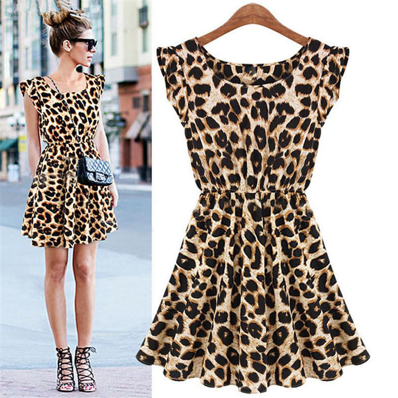YRRETY Woman Nightclub Dress Casual Printed Leopard Sleeveless Leopard Dress Sexy Women O Neck Dresses Female Party Lady Dress