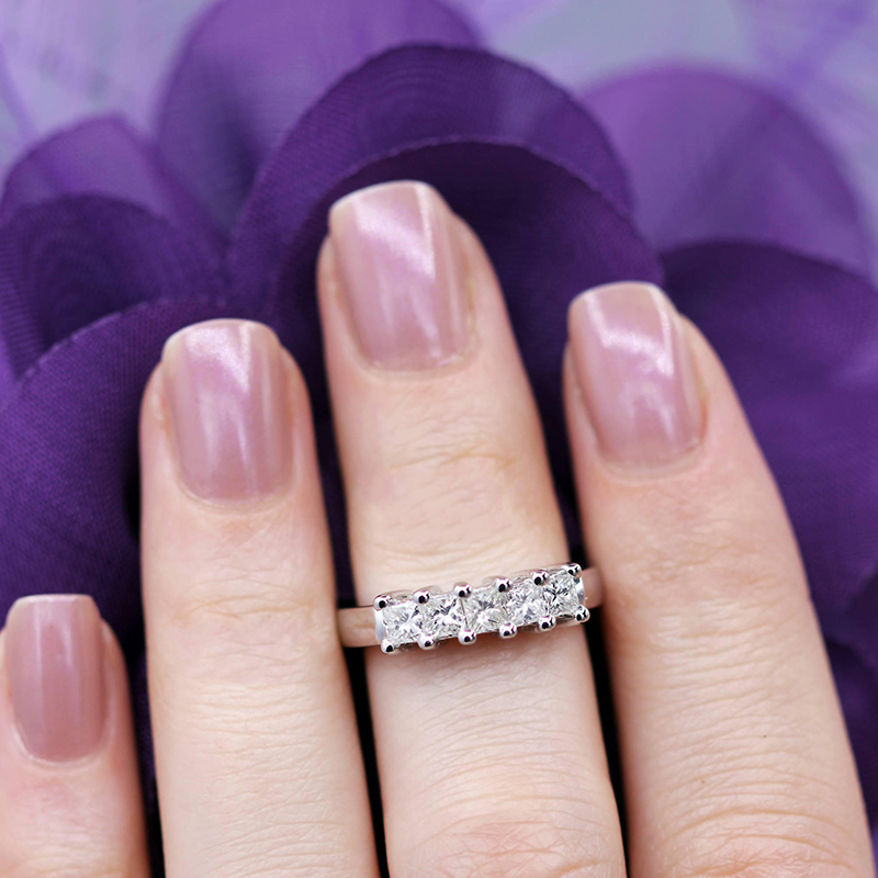 AEAW 5x2mm Princess Cut Certified Moissanite Engagement Band Solitaire Ring in 925 Sterling Silver or 14K White Gold For Women