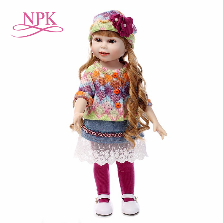 NPK NEW 45CM Realistic Girl Doll Looking cutePrincess Baby Dolls 18 Inch Safe silicone Girl Dolls
