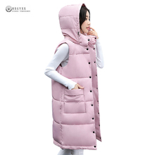 New Women Cotton Vests 2017 Autumn Long Vest Female Solid Color Single Breasted Coat Hooded Sleeveless Outerwear Waistcoat OK993