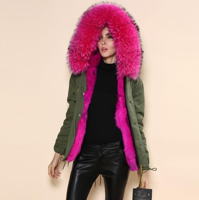 Большой меховой воротник куртка женская армия зеленый Роза Красная Подкладка искусственная Меховая куртка Зимние женские пальто