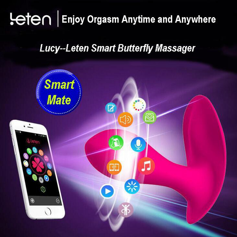 Leten Smart APP Control Vibrator Multi-function 10 Modes Silicone Waterproof Strap on Vibrating panties Adult Products for Women leten 10 modes silicone waterproof strap ons vibrators smart app control lucy multi function dildos sex toys products for women