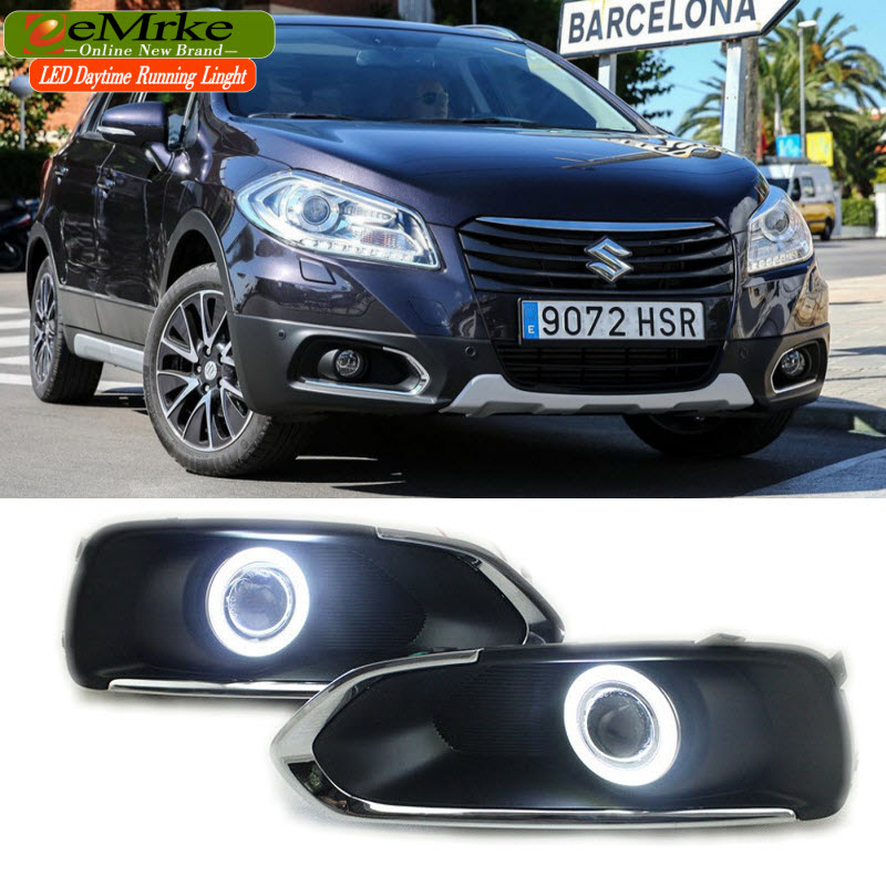 eeMrke LED Angel Eye DRL For Suzuki S-CROSS SX4 Fog Lamp Daytime Running Lights Halogen Bulbs H11 55W eemrke daytime running lights for mazda6 sedan wagon led angel eye drl halogen h11 55w fog lamp kits