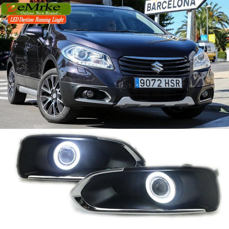 eeMrke LED Angel Eye DRL For Suzuki S CROSS SX4 Fog Lamp Daytime Running Lights Halogen Bulbs H11 55W