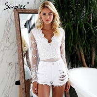 Simplee V neck white lace bodysuit women Long sleeve bodysuit playsuit femme 2018 Summer transparent sexy bodysuit