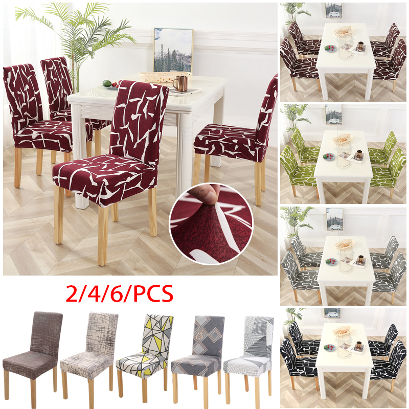 1/2/4/6pcs Geometric Chair Covers Spandex Elastic Stretch Decoration Chair Dining Seat Cushion Anti-dirty Washable