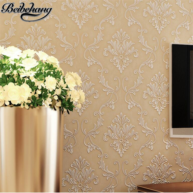 beibehang European style Damascus wallpaper bedroom living room sofa TV wall wallpaper three - dimensional non - woven fabrics beibehang modern minimalist style three dimensional geometric stripes non woven wallpaper shop for living room bedroom tv wall