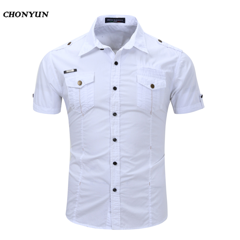 2020 Spring Brand Mens Shirt Business Slim Fit Clothing Male Short Sleeves Casual Shirts Solid Quick-dry Breathable EUR Size 3XL