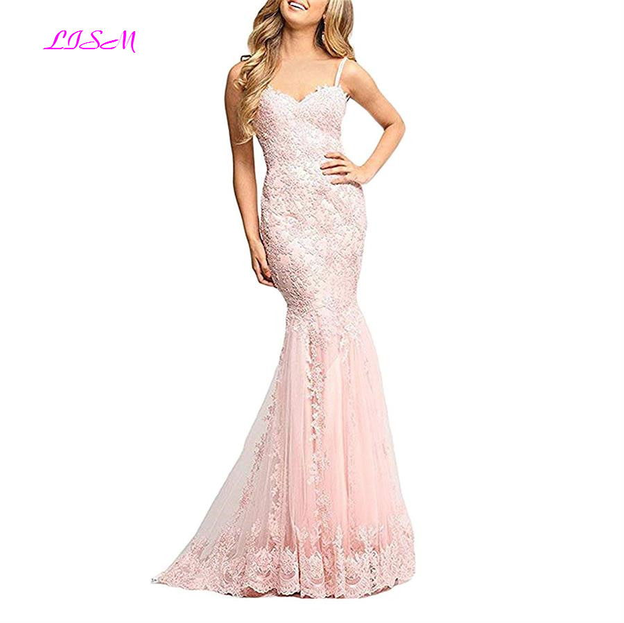 Spaghetti Straps Bodice Pageant Formal   Dress   Custom Made Lace Appliques Tulle Mermaid Long   Prom     Dresses   Ladies Evening Gowns