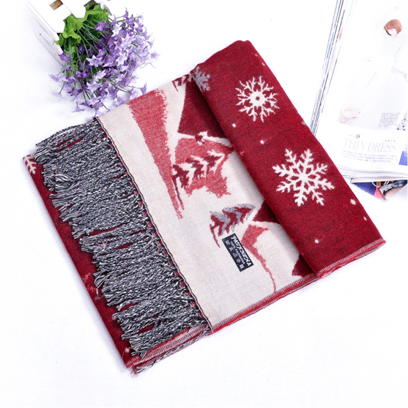 Christmas Scarf women 2018 Christmas Gift Snow Print Wraps Shawl Winter Scarves Shawl Scarves Women Girls Shawl