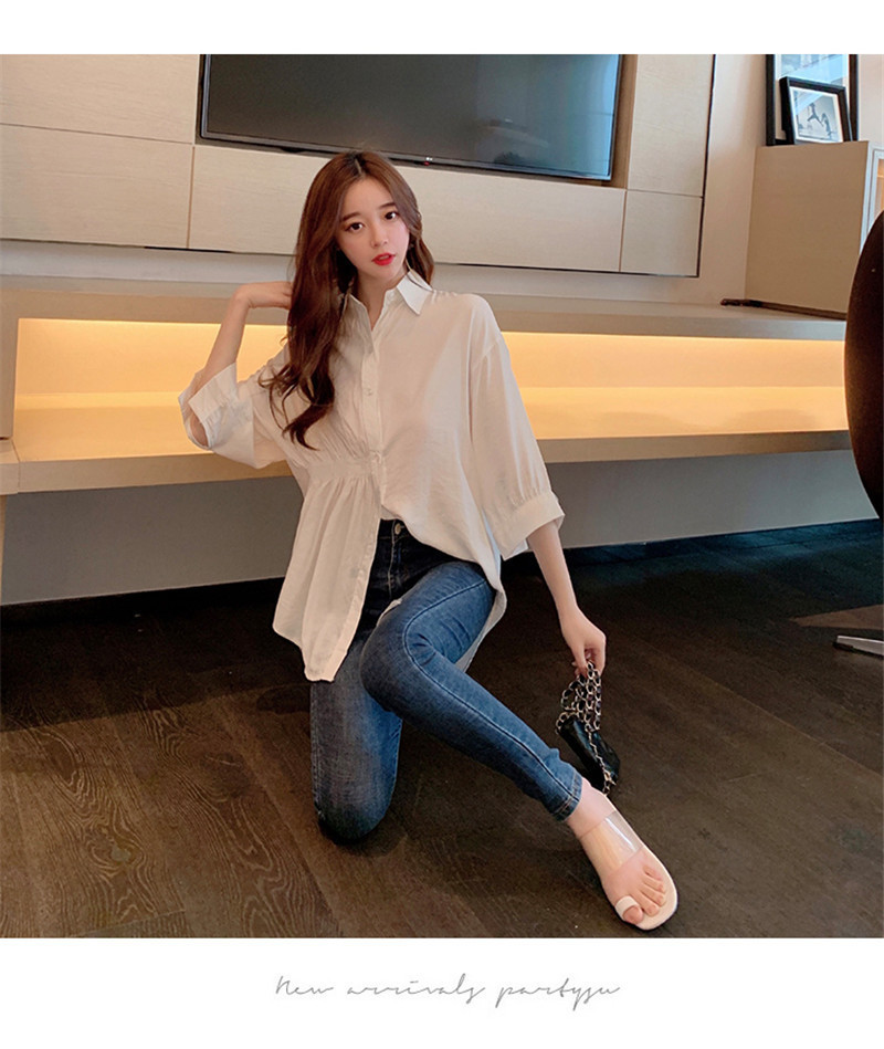 2019 Summer New Korean Version Of The Wild Long Paragraph 7 Points Sleeves Waist Loose Thin Temperament White Shirt Women (1)