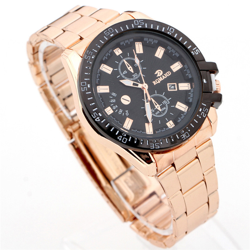 цены High Quality Watch Men Black Dial Gold Stainless Steel Date Analog Quartz Sport Wrist Watch Bracelet relogios masculino Hour