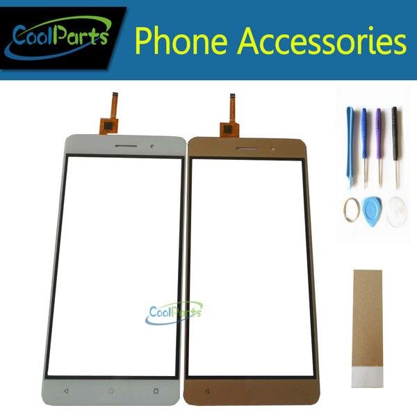 1 Pz/lotto di Alta Qualità Da 5.5 Pollici Per Bluboo Maya Touch Screen Digitizer Touch Panel Lente In Vetro Con Tool & Nastro oro Colore Bianco