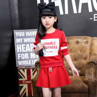 Girls Two Pieces Suit New Spring Children's Wear Korean Cotton Sets Clothes Kids Clothing Red Black Letters