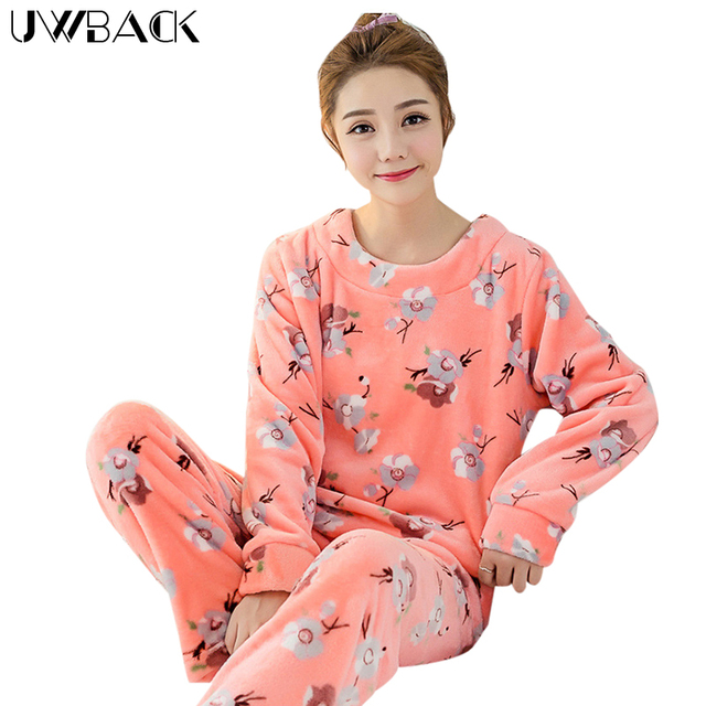 Uwback 2016 Winter Brand Pajamas Sets For Women Floral Plush Flannel Sleepwear Femme Animal Coral Fleece Kigurumi Mujer  OB240