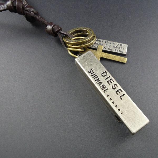 Wholesale 15pcs/lot Collor Handmade Male Leather Vintage Pendants Necklaces For Women Men Jewelry Accessories Hot Sale