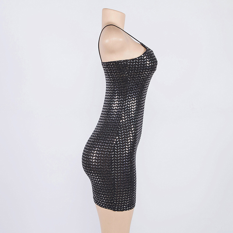 Forefair Summer Mini Sequin Dress Clubwear Party Black Off Shoulder (2)